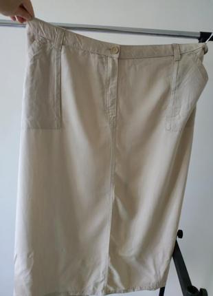 Бежевая длинная юбка прямая большой размер 265 фото