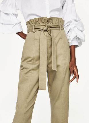 Идеальные брюки zara с высокой талией, хаки
