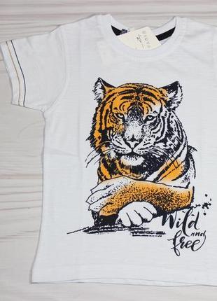 Хлопковая белая футболка с рисунком тигра, турция