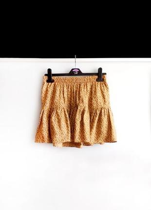 Мини юбка zara trf горчичного цвета