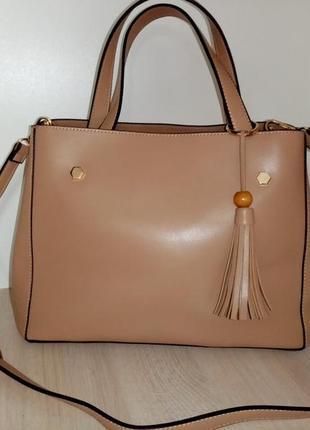 Женская бежевая сумка на одно отделение эко кожа
