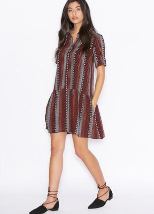 Натуральное платье рубашка из вискозы с коротким рукавом в принт