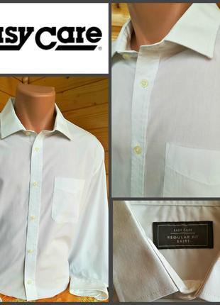 Однотонная белая рубашка  easy сare, regular fit, оригинал,итальянский воротник