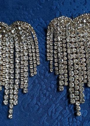 Серьги в стиле zara золото сережки вечерние свадебные