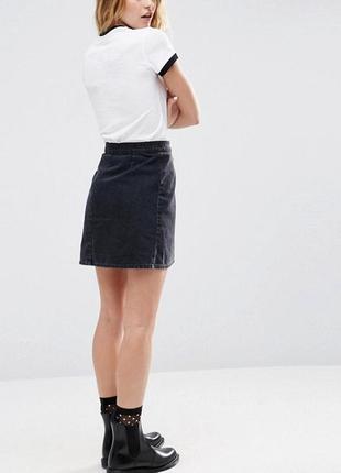 Крутая джинсовая юбка трапеция denim co