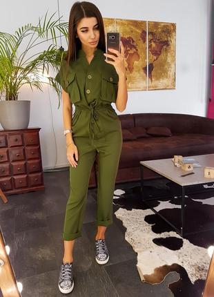 Комбинезон милитари с большими карманами цвет хаки брюки штаны