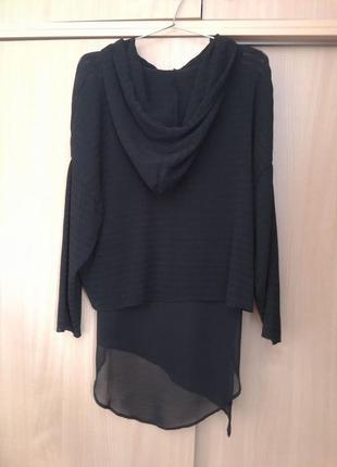Zara. интересный шифоновый  стильный свитшот блузон с капюшоном. оригинал