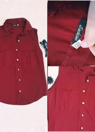 Офисная летняя блуза бордового цвета
