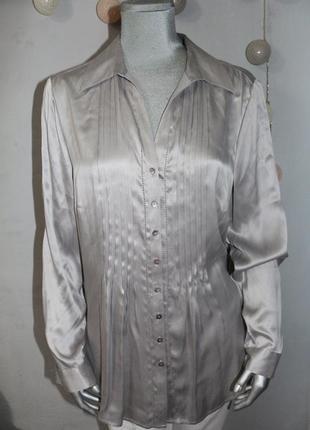 Серая шелковая блуза рубашка c&a