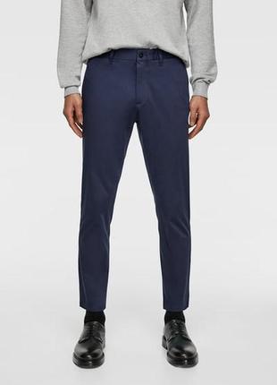 Лёгкие базовые тёмно-синие брюки  zara slim fit рр eur 40 новые распродажа остатков!