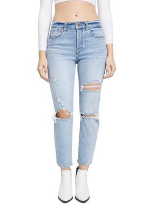 Джинсы голубые рваные pistola оригинал высокая талия мом mom jeans 26 летние укороченные