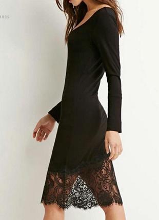 Черное платье zara с кружевом