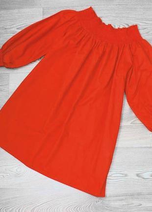 Блуза / кофточка /рубашка красная с горловиной лодочкой, 100% натуральная, s