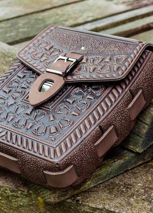 Сумка кожаная коричневая под тетрадь а5, планшет тиснение этно стиль