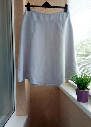 Качественная юбка миди из натуральной ткани 100% лен