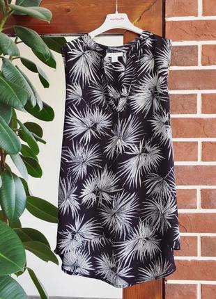 Удлиненная блузка с принтом листья  amisu топ принт