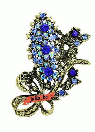 Брошь в винтажном стиле синие цветы, смотрите больше бижутерии в моих объявлениях