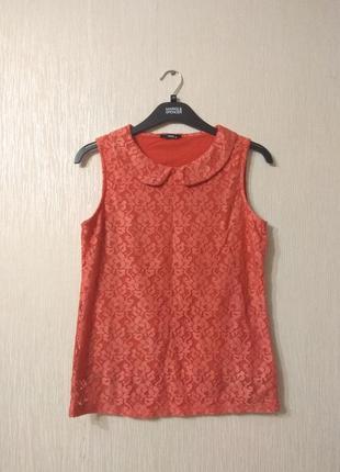Оранжевая кружевная милая блузка майка m&co размер m