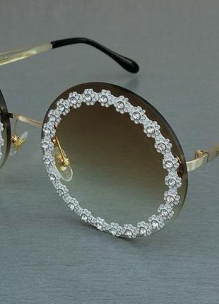 Dolce & gabbana очки женские солнцезащитные круглые коричневые цветочки