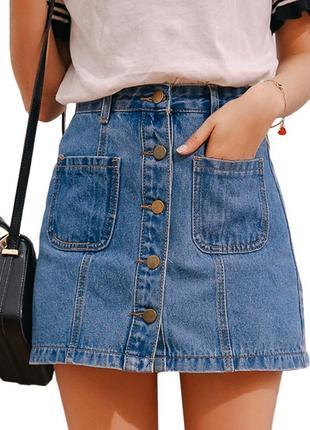 Джинсовая юбка трапеция на пуговицах forever 21