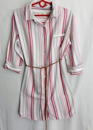 Платье,рубаха в полоску, в пижамном стиле