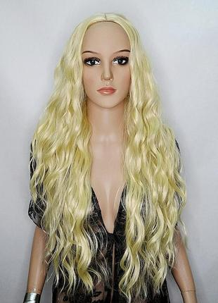 Парик с имитацией кожи блондин
