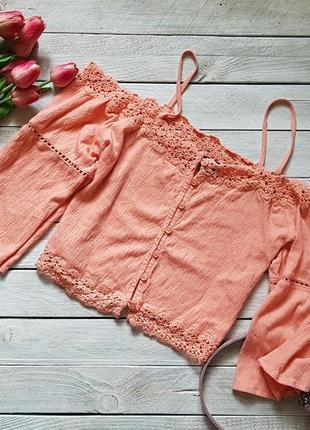 Чудова персикова блуза з вікритими плечима від topshop