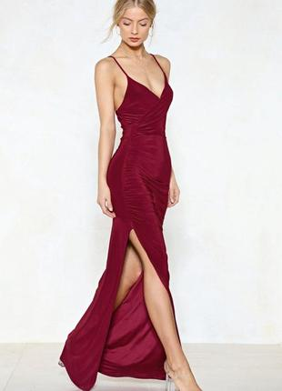 Сексуальное вечернее облегающее платье в пол марсала бордо запах разрез nasty gal