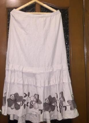 Очень красивая летняя длинная юбка.лен+вискоза. размер 16