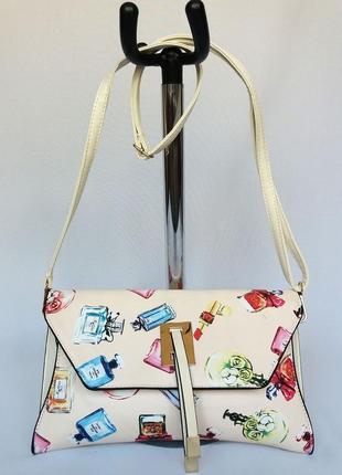 Суперцена. стильная сумка клатч, конверт. принт парфюм. новый