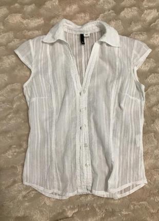 Белая лёгкая рубашка блуза с коротким рукавом