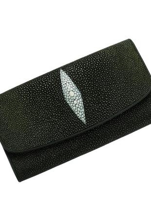 Кошелек из кожи ската ekzotic leather темно - зеленый (stw 134)
