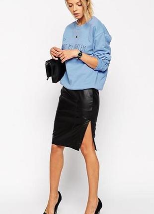Кожанная юбка к арандашс разрезом спереди эко-кожа кожзам, размер s