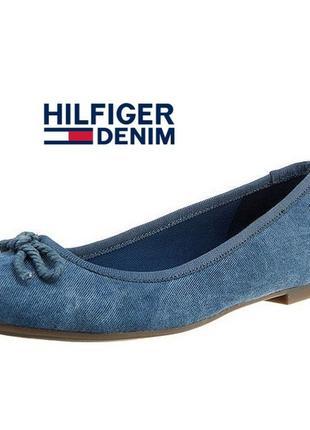 beee78010 Tommy hilfiger denim allen джинсовые балетки туфли синие текстильные лоферы  мокасины