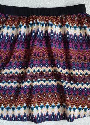 Легкая юбка клеш в этно принт
