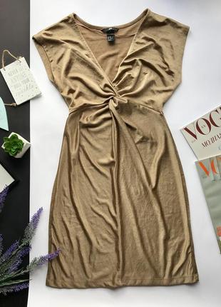 Шикарное золотое платье с декольте / золотистое платья с вырезом