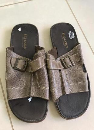 Шлёпанцы кожаные мужские стильные модные дорогой бренд elf-larot испания размер 42
