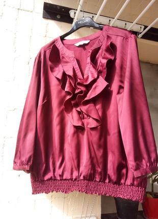 Бордовая красная блуза кофточка рюш волан от petite