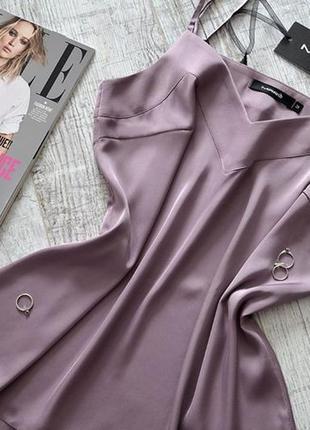 Шикарный шелковый базовый топ майка повседневный стильный пудровый лиловый4 фото