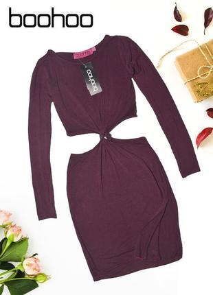 Новое платье бордо с разрезами по бокам boohoo