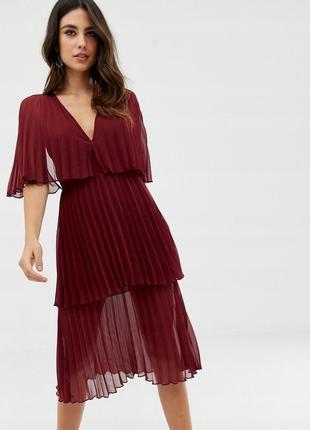 Asos design сукня-плісе кольору марсала