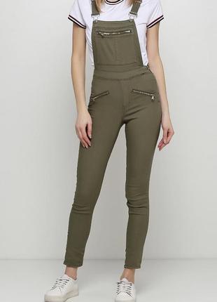 Новый женский джинсовый комбинезон цвета хаки h&m7 фото