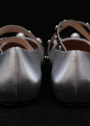 Балетки baldinini trend (италия), серебристого цвета.3 фото