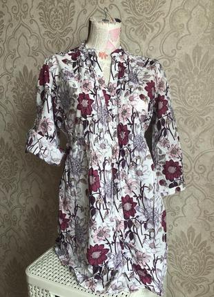 Яркая летняя хлопковая рубашка с цветочным принтом. oodji. р.46-48. можно для беременных