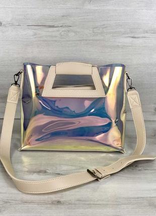 Перламутровая женская сумка с клатчем силиконовая через плечо