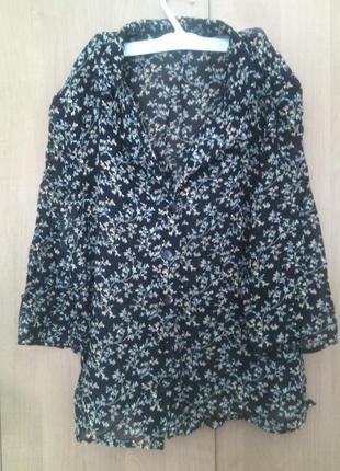 Легкий костюм блуза + юбка миди цветочный принт 48р