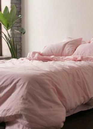 Розовый лен 100 % - льняное постельное белье