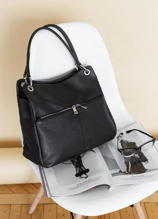 Большая черная мягкая итальянская кожаная сумка, borse in pelle италия