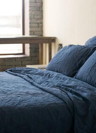 Лен синий 100 %,льняное постельное белье натуральное