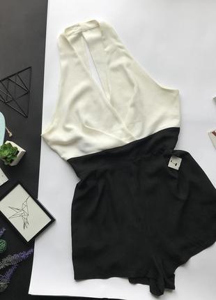 Чёрно белый ромпер / чёрно белый комбез / комбинезон шортами в деловом стиле